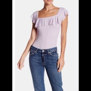 Free People Last Call Ribbed Flounce Lilac Top